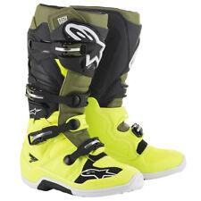 ALPINESTAR TECH 7 MOTOCROSS MX BIKE BOOTS - YELLOW FLO / MILITARY GREEN / BLACK