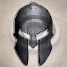 Steel Grey Spartan Helmet Sticker Ancient Fearless Warrior Decal