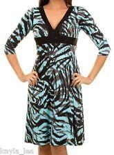 Aqua/Black Zebra/Tiger/Animal Stripe 3/4 Sleeve Dress S/M/L