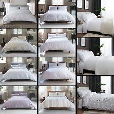 Hotel Quality 100% Cotton Percale Luxury Duvet Cover Set - White Cream Purple