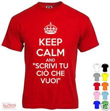 KEEP CALM T-Shirt maglietta personalizzata Bianca/Colorata - scegli tu la frase