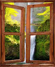 Sticker mural fenêtre trompe l'oeil déco Cascade réf 2518