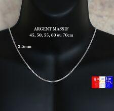 Fine Chaine Pour Homme En Argent Massif 925 Largeur 2.5mm 45 cm 50cm 55 60 70cm