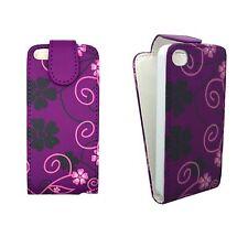 CASE FOR APPLE IPHONE 5/5S PURPLE CASE PINK AND BLACK FLOWER SWIRL DESIGN FLIP