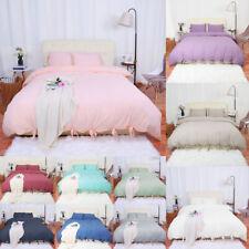 Washed Cotton Bedding Set Comforter Duvet Cover Pillowcase Bed Sets Solid Color