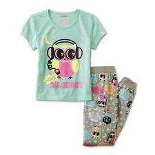 NEW Girls Owl Pajamas Size 7/8 Medium Short Sleeve Top Pants Mint Green/Gray NWT