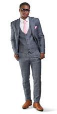 Slim Fit Mens Suit 2 Button Slate Gray Windowpane Plaid Peak Lapel 35071 AZARMAN