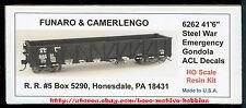 "Funaro F&C 6262 ATLANTIC COAST LINE Gondola ACL  41'-6"" Steel WWII War Emergency"