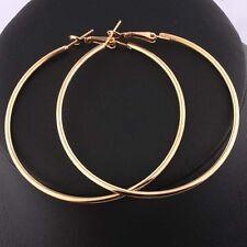 18K Gold Plated Large/Big Round Hoop/Loop Ring/ Earrings.Leverback/50/60//70mm