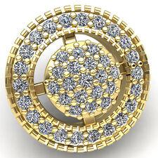 Natural 0.75carat Round Cut Diamond Ladies Circle Cluster Halo Pendant 14K Gold