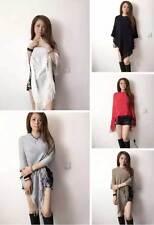 Womens Poncho Stole Cape Shrug Wrap Shawl Jacket Jumper Sweater Tassels Stylish