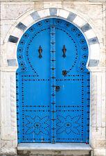 Wandsticker aufkleber deko : Tür blau - ref 1385 (16 größe)