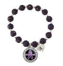 Custom Fibromyalgia Awareness Purple Bling Bracelet Jewelry Choose Initial