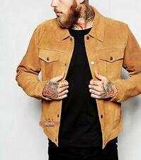 NOORA Men Tan Suede Classic Western Denim Style Real Hide Leather Jacket Gold SJ