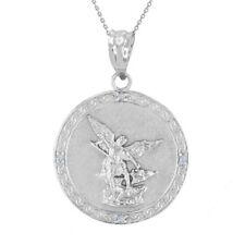 "Sterling Silver Saint Michael CZ Back Engraved Prayer 1.14"" Pendant Necklace"