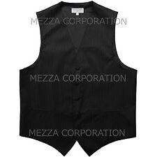 New Men's Tuxedo Vest Waistcoat Vertical Stripes only prom wedding party Black