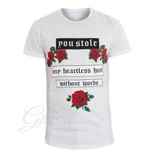 T-Shirt Uomo Mezza Manica Girocollo Bianca Stampa Scritta Rose GIOSAL