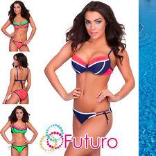 Ladies Bikini Set Striped Push Up Bra Padded Top Swimsuit Sizes 8-14 A16-03