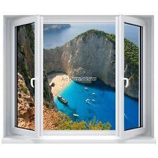 Sticker trompe l'œil fenêtre Vue sur mer et plage 5291 5291
