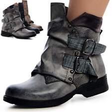 Damen Stiefeletten Biker Worker Boots Booties Stiefel Schnalle Blockabsatz