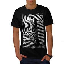 Wellcoda Safari Cebra Cabeza Para hombres Camiseta, Camiseta Impresa A Rayas Diseño Gráfico
