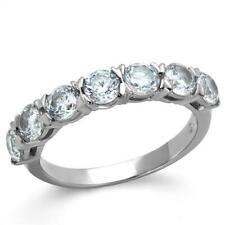 2182 ETERNITY WEDDING BAND SET RING SIMULATED DIAMOND 7 STONE WOMENS SALE CLEAR