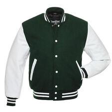 Stewart & Strauss Forest Green Wool & White Leather Varsity Letterman Jacket New