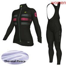 New Women Cycling Clothing Bike Long Sleeve Thermal Fleece Jersey Bib Pants Suit