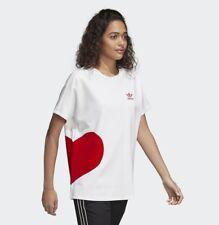 New Adidas Originals Women T-Shirt Valentine's Day Tees Big Red Heart CE1684