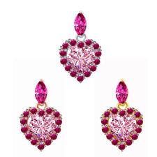 Summer Sale 1 Ct Tourmaline & Pink Sapphire 18K Gold Over Heart Pendant $313.52
