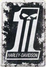 Harley Davidson #1 Tête De Mort Métal Postcard Mini - Signe (Na)