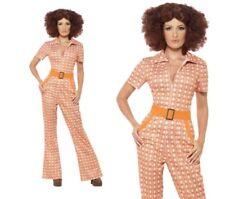 Auténtico 70's Retro Chick Traje De Damas MONO CATSUIT Disfraz S-XL