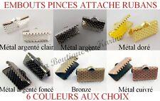 30 EMBOUTS PINCES ATTACHE RUBANS 13x7 METAL ARGENTE DORE BRONZE CUIVRE - BIJOUX