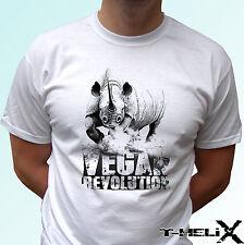Vegan Revolution Rhino - white t shirt top tee veggie vegetarian - all sizes
