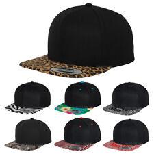 Nouveau * LEOPARD * Casquette Réglable Noir Uni baseball HIP HOP ERA Fitted Flat Peak Hat