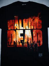 The Walking Dead TWD Tv Show Farm Barn in Flames Logo Walkers T-Shirt