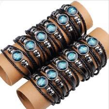 Twelve Constellation Tungsten steel Leather Weaving Handmade Bracelet Mens Women