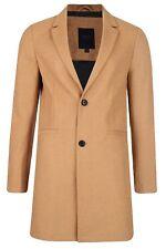 Threadbare Mayfair Mens Wool Blend Over Coat Crombie Style Jacket Camel Beige