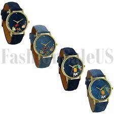 Unisex Watch Denim Leather Cartoon Dial Analog Quartz Wristwatch Casual Watch