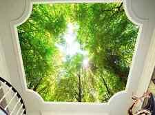 Huge 3D Green Bamboo Roof Wall Wall Paper Wall Print Decal Wall Deco Indoor Wall
