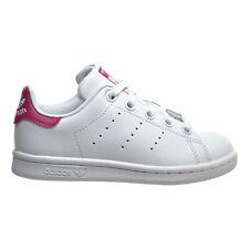 Adidas Stan Smith C Little Kid's Shoes White-White-Bold Pink ba8377