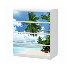 Set Möbelaufkleber für Ikea Kommode MALM 4 Fächer Meer Palmen Folie 25B1836