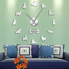 Dog Clock 3D Puppy Animal Self Adhesive Decorative Big Acrylic Wall Time Clocks