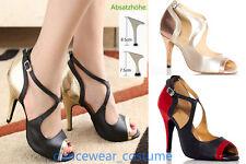 New Women's Tango Ballroom Latin Dance Salsa Shoes Heeled Shoes 3Colors SZ 34-42