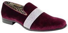 Men's Fancy Dress Casual Shoes Burgundy/Silver Rhinestones Slip On Loafers 6715