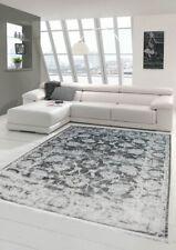 Vintage Teppich modern Wohnzimmerteppich Designteppich mit Fransen in Grau