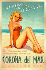 CORONA del MAR California Surf Sand Sea Poster Pacific Pin Up Girl Art Print 241