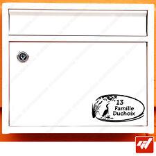 Sticker Autocollant Boite aux lettres nom et numero de rue art deco maison BAL15
