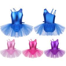 Mädchen Ballettkleid Glänzend Spaghettiträger Tanzkleid Ballett Trikot mit Rock