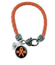 Custom Multiple Sclerosis Awareness Ribbon Orange Leather Bracelet Jewelry